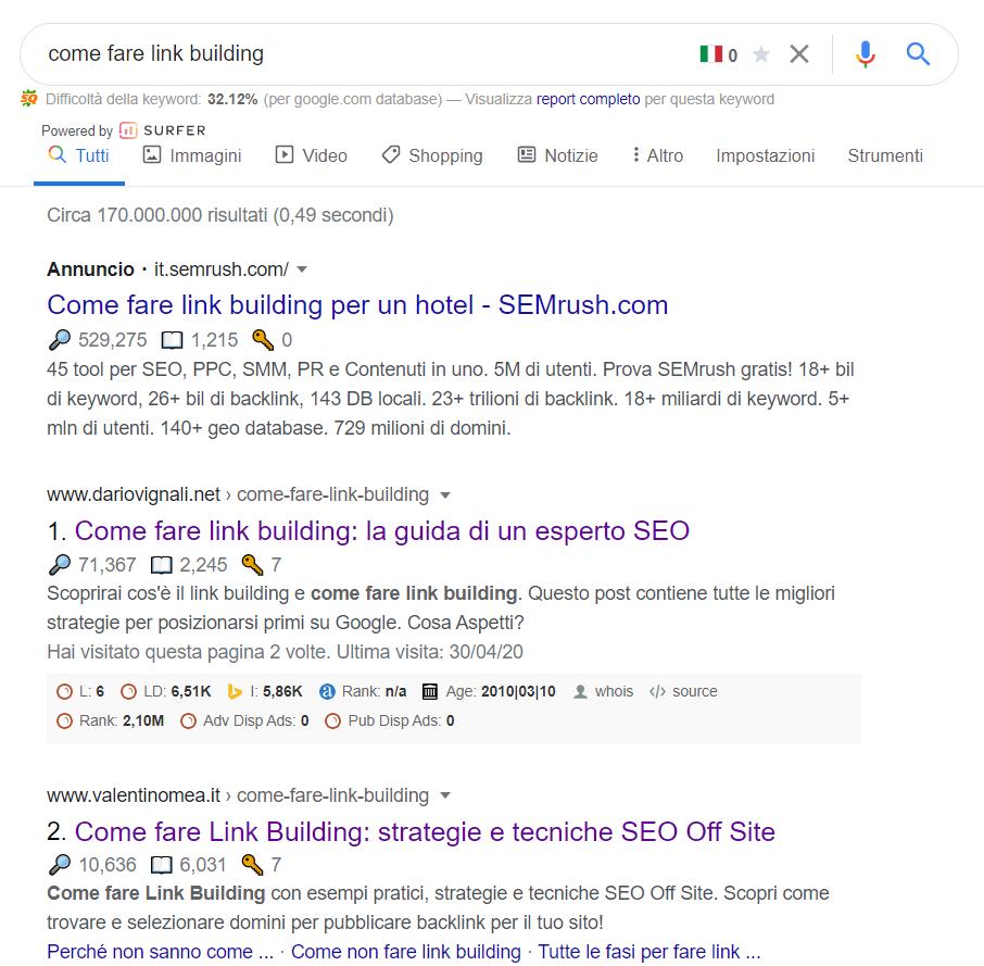 """risultati della ricerca """"come fare link building"""""""